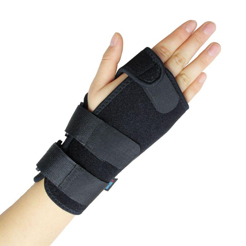 Black Medium Adjustable Left Hand Wrist Palm Support Splint Brace Glove Sport Care