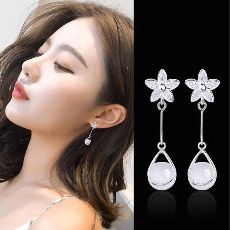 Ataullah Luxury Opal Dangle Hanging Long Drop Earrings Sterling 925 Silver Earring for Women Jewelry Gift Bijoux EW018