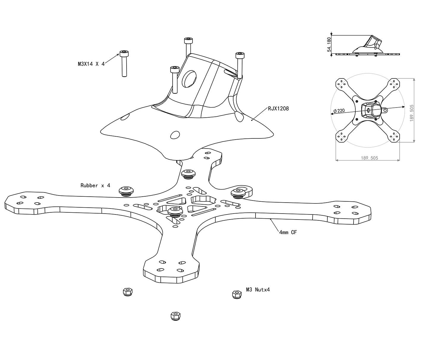 RJX часть X Speed XBR 220 FPV гоночный Дрон RC комплект Квадрокоптер разобранный мультиротор запчасти - 6