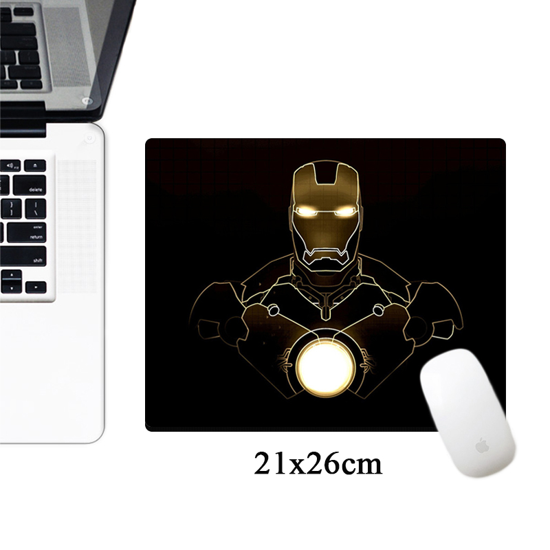 Marvel Comics Logo Mousepad Iron Man Anime Computer Gaming Mouse Pad 21x26cm Small Size Office Non-slip Rubber Laptop Desk Mat
