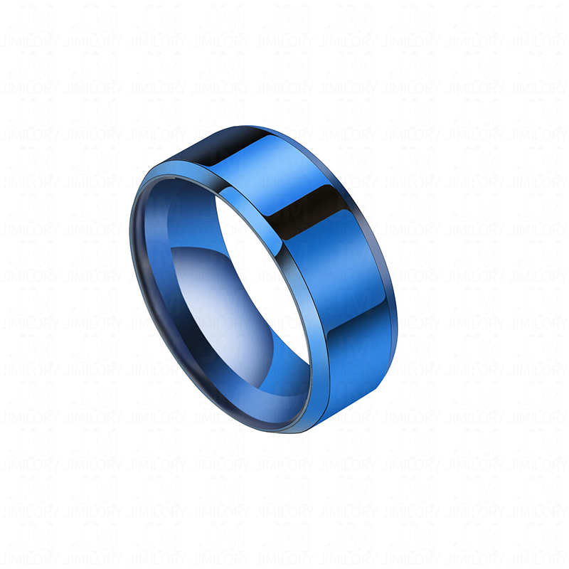 Stainless Steel Blue Anodized Satin Finished 2 Color Grooved Striped Comfort Fit Band Ring