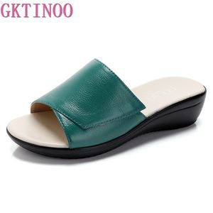 GKTINOO Women Slippers Shoes Genuine Leather Casual Slides Women Summer Shoes Retro Solid Mother Shoes Wedges Flip Flops