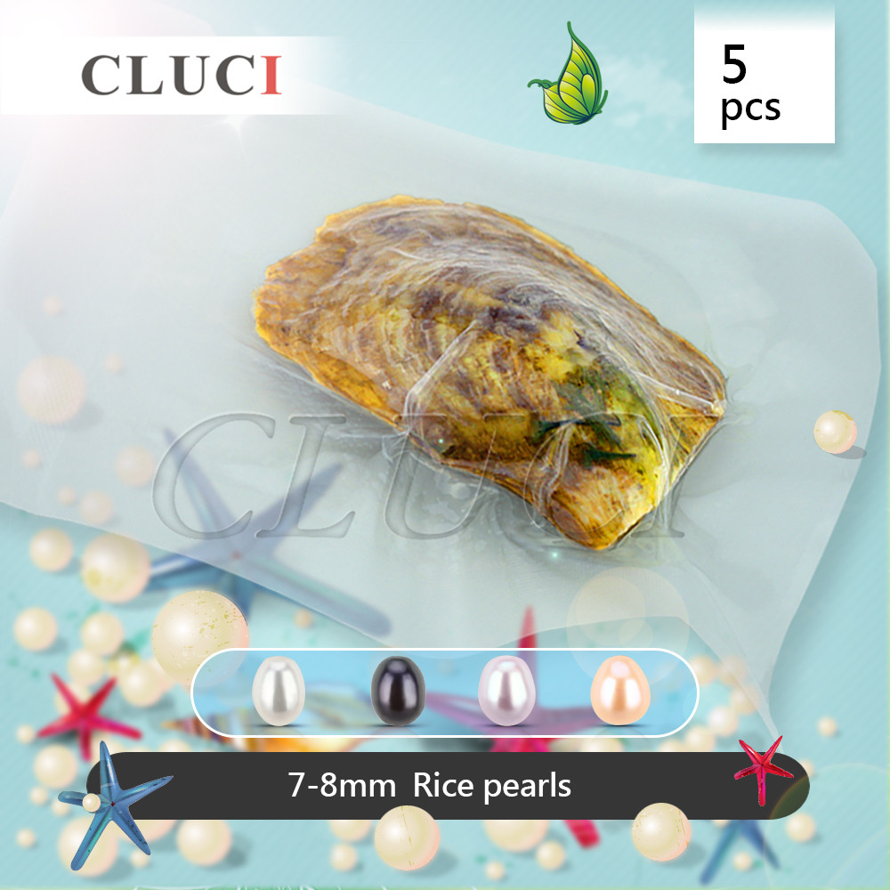 CLUCI Meilleur cadeau, 5 pcs AAA grade vide-emballé 7-8mm d'eau douce de riz perle oyster, perles perles pour faire des bagues/boucles d'oreilles/colliers
