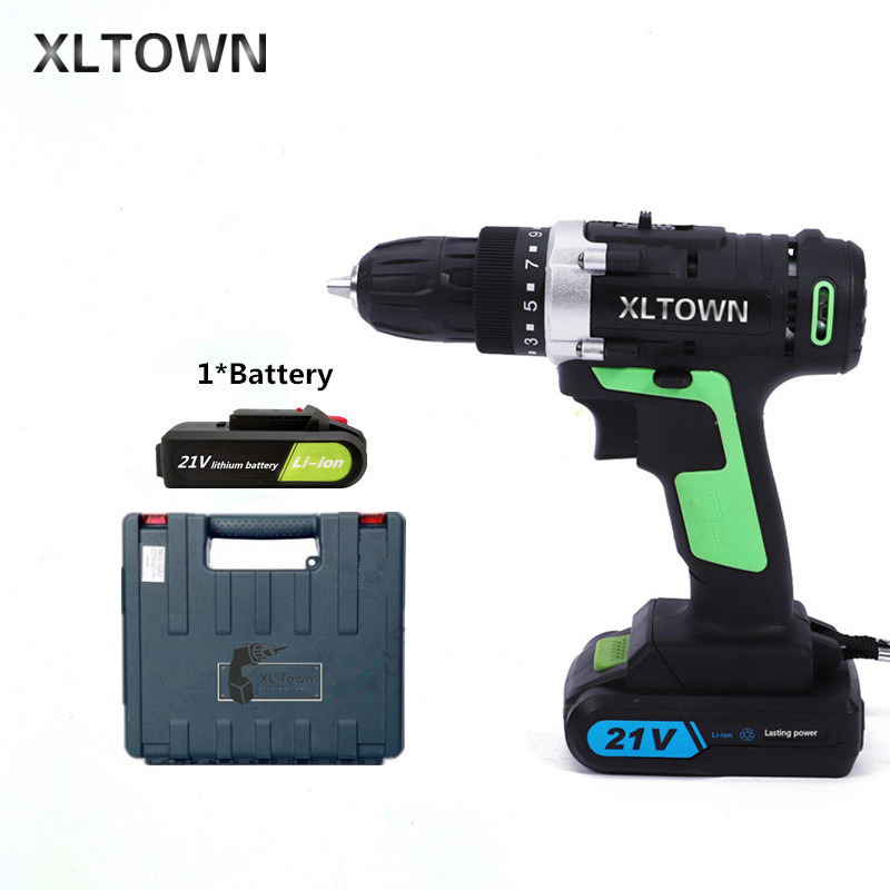 цена на XLTOWN 21v cordless electric drill with a plastic box rechargeable lithium battery electric screwdriver household power tools