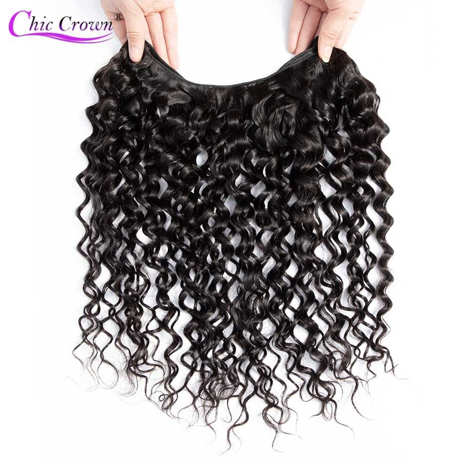 Chic Crown Hair Water Wave Human Hair Bundles With Closure Brazilian Hair Weave Bundles With Closure Remy Hair Bundles