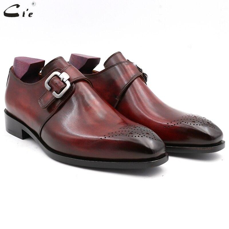 Cie Plaza llanura del dedo del pie de grano completo cuero de becerro genuino de Blake de punto de los hombres vestido de monje correas Oficina zapato hombres elegante MS02