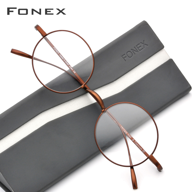 B Titanium Glasses Frame Men Ultralight Small Round Myopia Optical Prescription Eyeglasses Frames Women Vintage Eyewear 9120