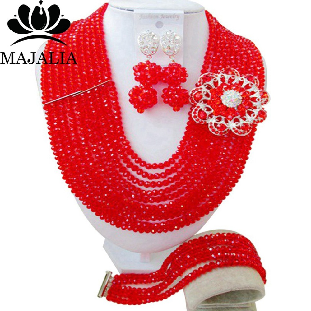 2017 Fashion african beads jewelry set red Nigeria Wedding Crystal necklace Bridal Jewelry sets Free shipping VV-0012017 Fashion african beads jewelry set red Nigeria Wedding Crystal necklace Bridal Jewelry sets Free shipping VV-001
