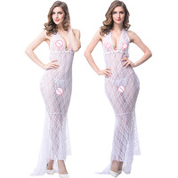 Hot Selling Woman Sexy Babydolls Deep V-Neck Sexy Lingerie Halter Backless Lace Hollow Erotic Dresses With G-String White