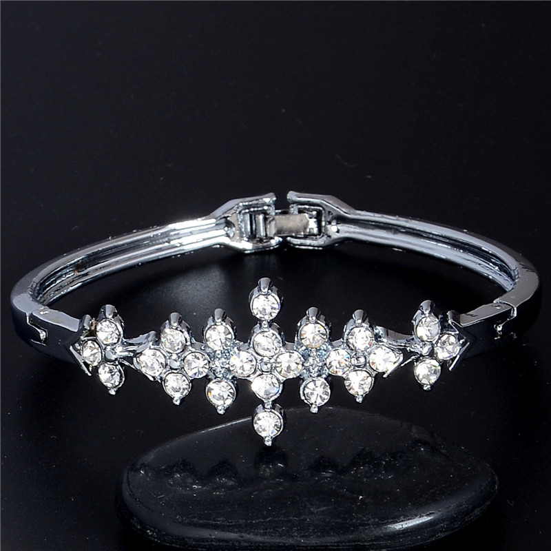 90f376617f SHUANGR Fashion White Gold Color Austrian Crystal CZ Zircon Bangles  Bracelets Fine Jewelry Gift For Women femme pulseiras