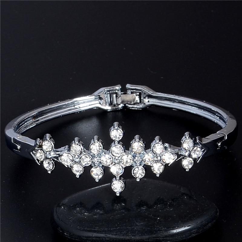 90f376617f SHUANGR Fashion White Gold Color Austrian Crystal CZ Zircon Bangles  Bracelets Fine Jewelry Gift For Women femme pulseiras
