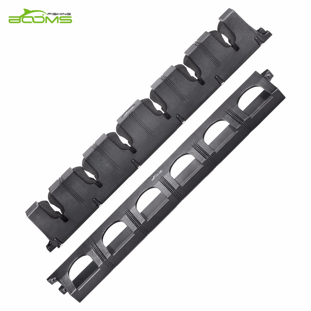 Booms fishing wv1 vertical 6 rod rack fishing pole holder for Wall fishing tools