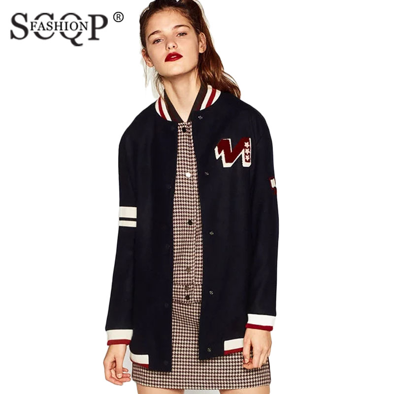SCOP FASHION Casual Loose Wool Women Jackets Letter Patches Striped Winter Warm Outwear Coats Brand Fashion Ladies Jackets