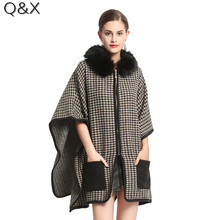 SC114 Women Capes Poncho With Pocket 2017 Winter Swallow Gird Fur Shawl Knitted Sweater Plus Size Cardigan Coat With Fur Hat