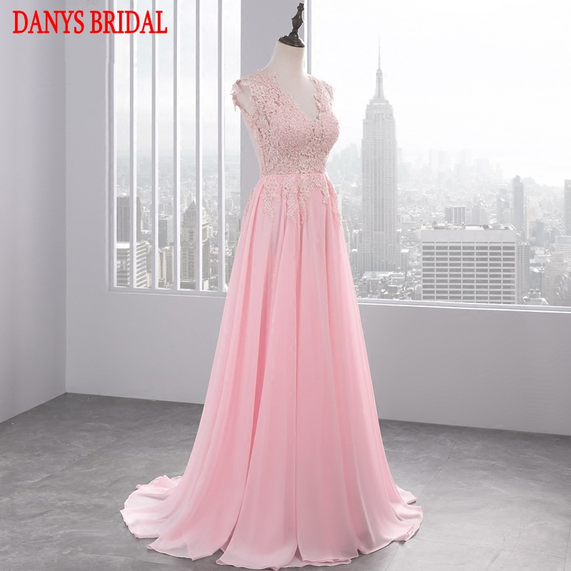 Pink Long Lace Evening Dresses Party Women Chiffon A Line Prom Dress ...