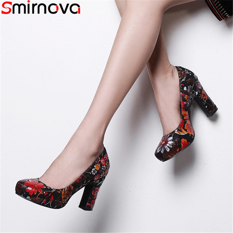 Smirnova 2019 new pumps shoes for women round toe shallow high heels ladies prom wedding shoes