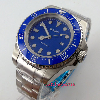 Мужские часы с синим циферблатом, 44 мм, с керамическим ободком, светящимися стрелками, SS, с датой, 2019