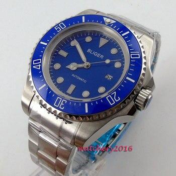 44mm Bliger Blue dial ceramic bezel Luminous Hands SS Case Date 2019 Newest Top brand Luxury Automatic Mechanical men's Watch