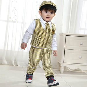 Wedding-Dress Newborn Suit Clothing-Set Baby-Products Boys Plaid with Hat Gentleman-Suits