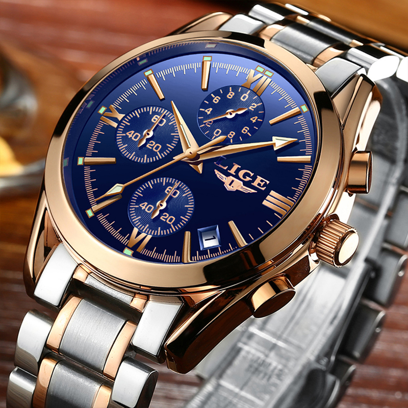 relogio masculino LIGE Mens Watches Top Brand Luxury Sport Quartz Watch Men Business Stainless Steel Waterproof Wristwatch new guanqin mens watches top brand luxury man business quartz watch men sport stainless steel waterproof clock relogio masculino