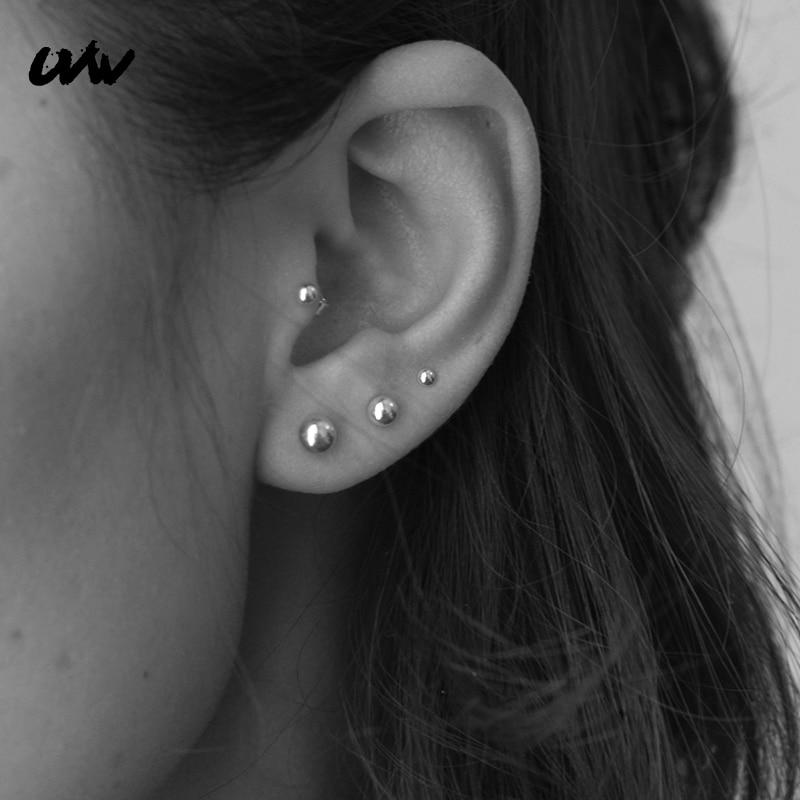 UVW062 2pc Trendy Barbell Piercing Earrings Surgical Steel Ear Stud Earrings 3/5mm Ear Plug Daith Tragus Helix Piercing Jewelry