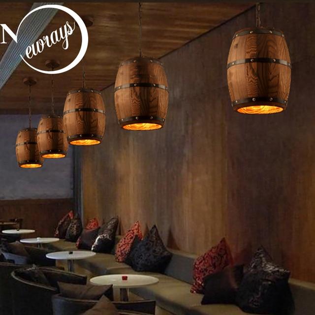 Wine Cellar Light Fixtures: American Country Loft Wood Wine Barrel E27 Hanging Fixture