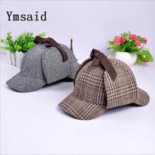 Ymsaid 2017 High Quality Cosplay Cap Detective Sherlock Holmes Deerstalker Hat Gray Cups New Berets Cap