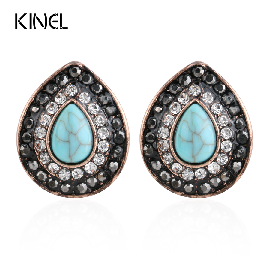 Luxury Drawing Resin Earrings For Women Ancient Rose Gold Color Black Crystal Water Drop ...