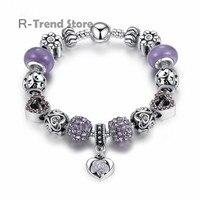 ハートチャームブレスレット女性紫色のブレスレット腕輪のため女性クリスタルビーズジュエリーPA1486