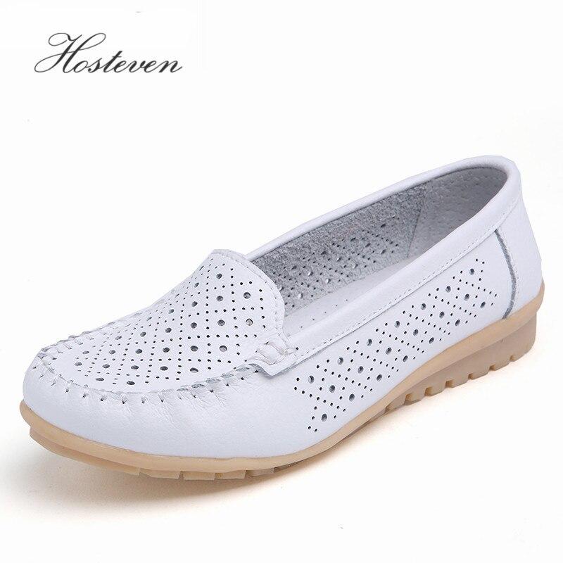 Hosteven zapatos de mujer zapatos mocasines casuales de cuero genuino Moda mujer Slip On Shallow Mouth Flats Mocasines