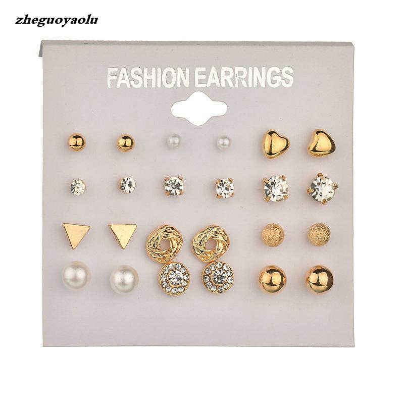 Brincos Mode 12 Pair/set Wanita Persegi Kristal Heart Earrings Wanita Piercing Simulasi Pearl Flower Earrings Set Gratis