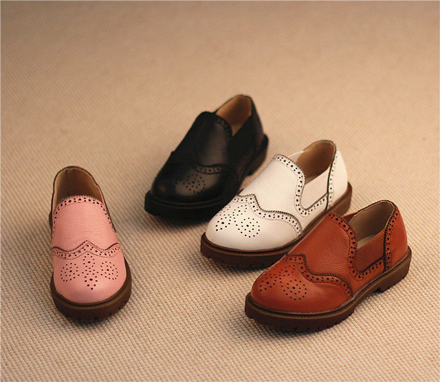2016 new spring shoes, boys and girls carved dermis leather shoes children's  British styl leeather shoes