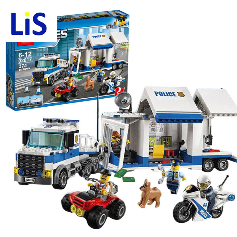 Lis 2017 City Mobile 02017 Command Center Building Brick DIY Education Boys Police Toys Gift Compatible Lepin 60139 mobile work center