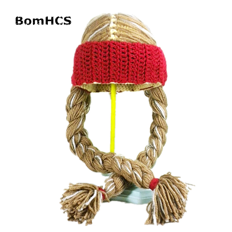 BomHCS Cool Funny Rock Style Wig Beanie 100% Handmade Knitted Braid Hat Party Halloween Gift
