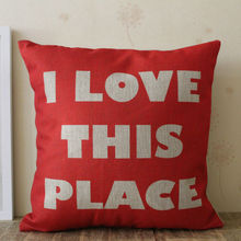 LINKWELL 45x45cm Red Monogram I Love this Place Word for Home Decoration Burlap Cushion Cover Pillowcase Cover Housewarming Gift