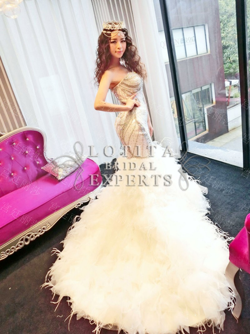 wedding dress with feathers Princess Ball Gown Wedding Dresses