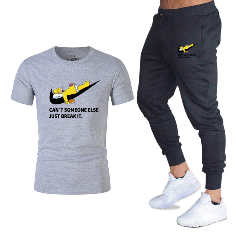 New Men's Sport Suits Running Jogger Pants+T Shirts Men Sports Joggers Training Suit Brand Gym Fitness Tracksuits Set Streetwear