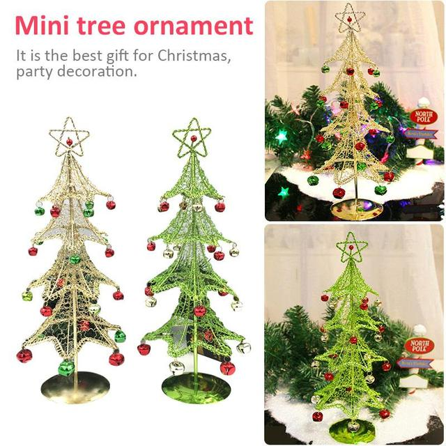 mini christmas tree desktop decoration for christmas tree with bell hanging decoration kids gifts for home - Mini Christmas Decorations