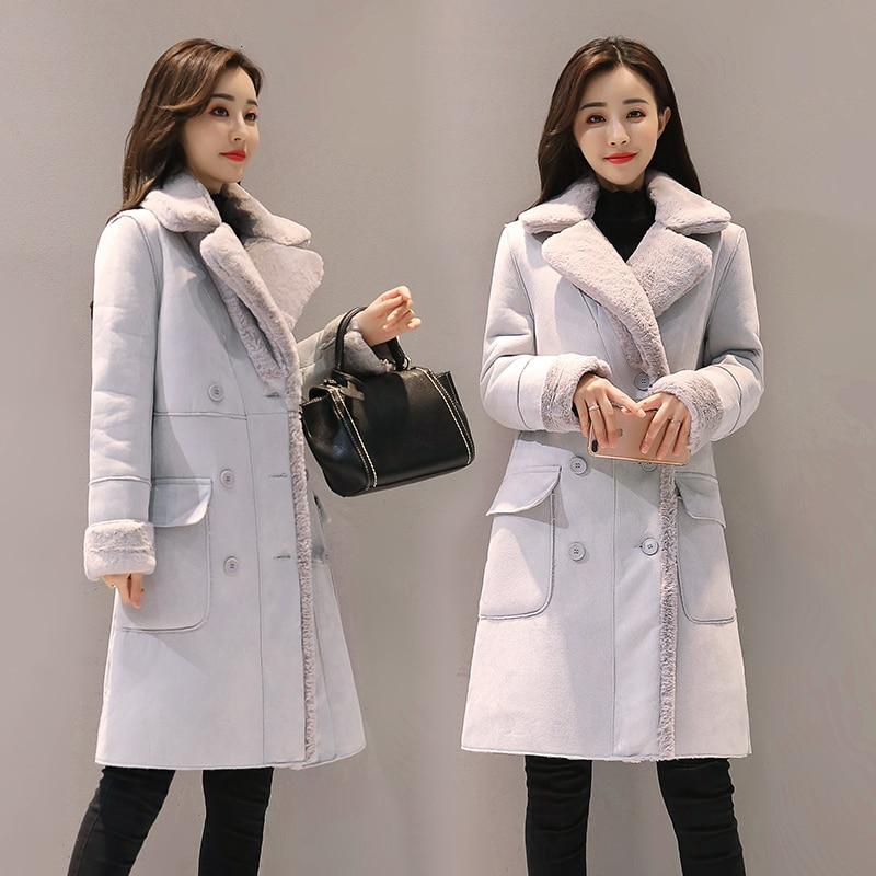 b Winter Woman Shearling Coats Faux Suede Leather Jackets Plus Size Loose Coat Medium Long Faux Lambs Wool Coat size XS-2XL