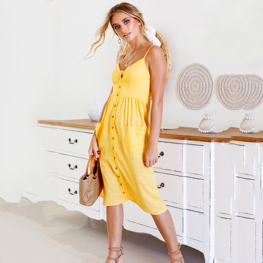 Cotton Solid Button Sexy Casual Summer Yellow Dress Long Boho Beach Pockets Women Sundress Vestidos Elegant Daily Straps Dess