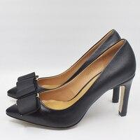 Women Genuine Leather High Heel Shoes Super High 10CM Pumps Bow Design Wedding Shoes DA010