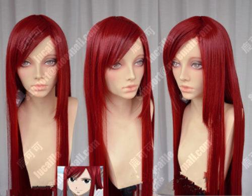 100% Brand New High Quality Fashion Picture full lace wigs>>Fairy Tail Erza Scarlet Dark Red 100cm Straight Cosplay Party Wig free shipping high quality relaxed multi layered red straight long wigs