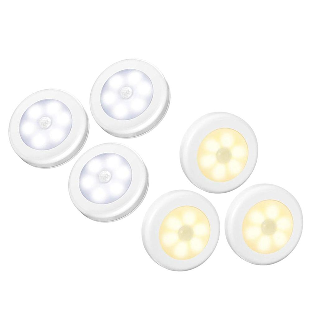 Smart Night Light Led Sensor Light Human Body Infrared Sensor Light Led Cabinet Light Wardrobe Light Round Sensor Light 3Pcs