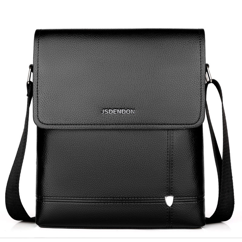 2019 New Business Travel Men's PU Solid Color Large Capacity Messenger Bag Class