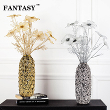 FANTASY Artificial Daisy Flowers Glitter Silk Fake Plant Bouquet High Quality Handmade Craft Cosmos Floral For Living Room Decor