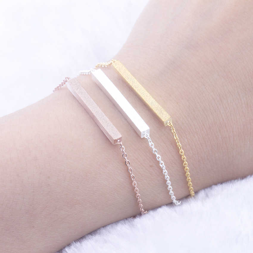 Stainless Steel Thin Bar Bracelets Femme 2019 Rose Gold Silver Color Chain Women Dainty Friendship Bracelet Mother Sister Gifts