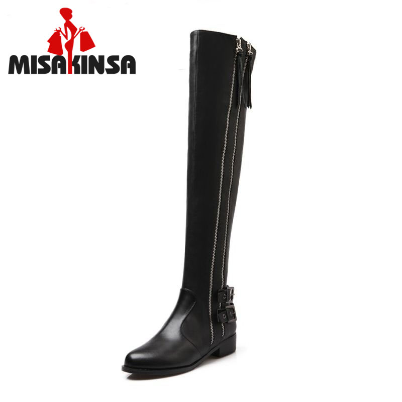 MISAKINSA Women Genuine Real Leather Knee Boots Winter Boots Sexy High Heel Round Toe Zipper Buckle Women Boots Shoes Size 34-39 platform square heel half short real leather boots women fashion round toe zipper shoes lace up female bootie size 34 39