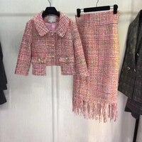 Женский комплект: укороченный топ и юбка, восхитительный комплект из 2 предметов, элегантная женская твидовая куртка больших размеров, 5xl 6xl