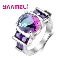 Novelty Fine 925 Sterling Silver Engagement Rings For Women Female Mystic Rainbow Stone Austrian Crystal Wedding Accessories(China)