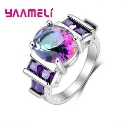 Nowość w porządku 925 srebro pierścionki zaręczynowe dla kobiet kobieta Mystic Rainbow Stone austriackie kryształowe akcesoria ślubne